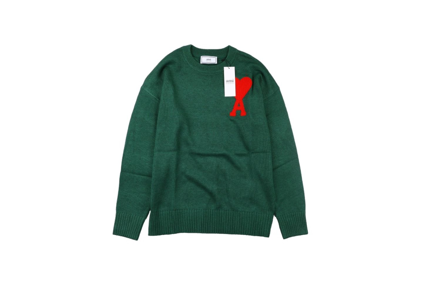 "Shirt Ami heart round neck wool sweater ""Green"" 1 1"