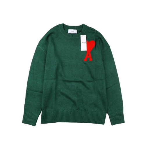 Ami heart round neck wool sweater Green