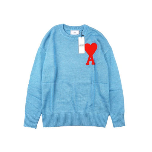 Ami heart round neck wool sweater Blue