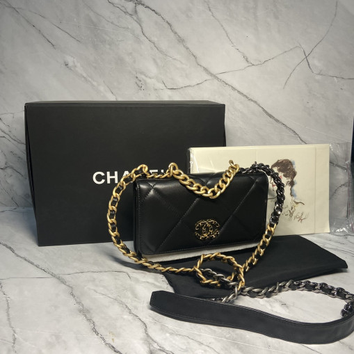 chanel WALLET ON CHAIN lamb skin gold chain
