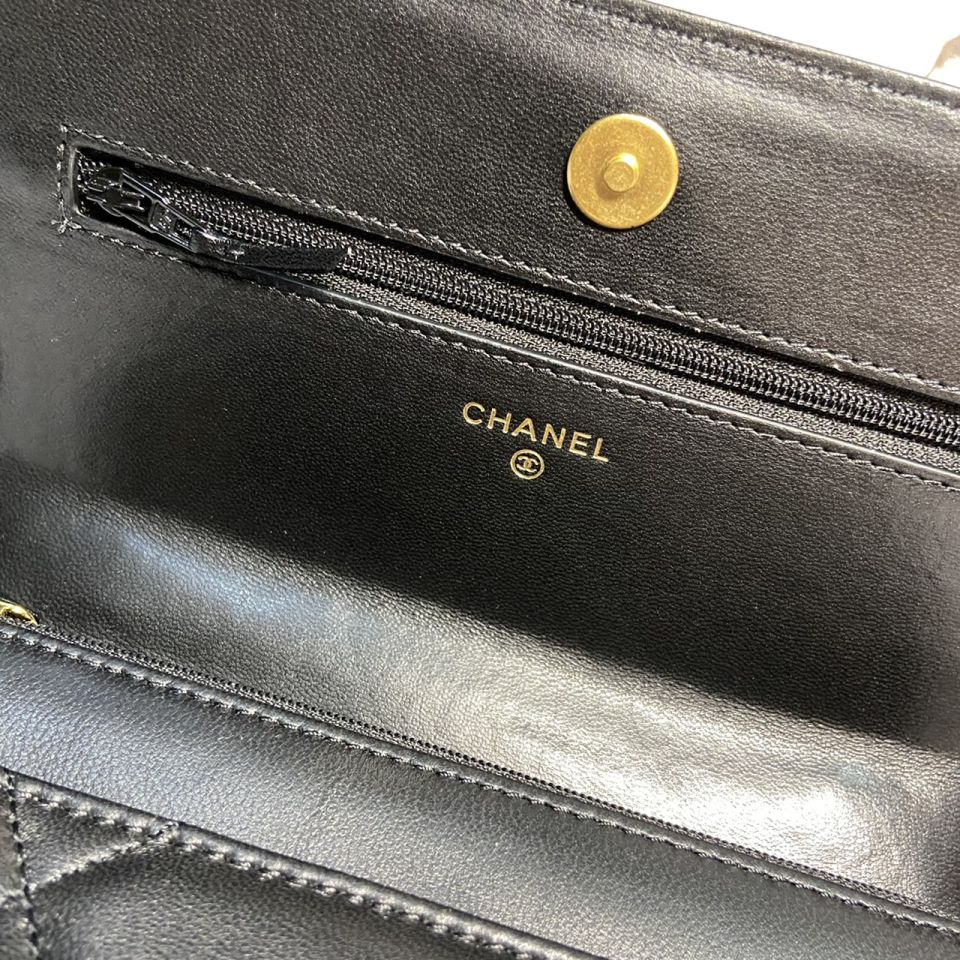 READY STOCK chanel WALLET ON CHAIN lamb skin gold chain 10 1_10