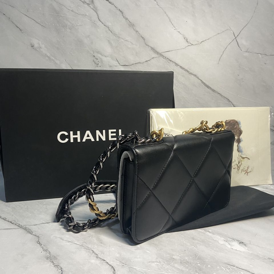 READY STOCK chanel WALLET ON CHAIN lamb skin gold chain 12 1_12