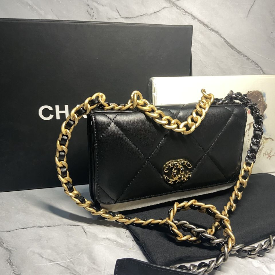 READY STOCK chanel WALLET ON CHAIN lamb skin gold chain 13 1_13