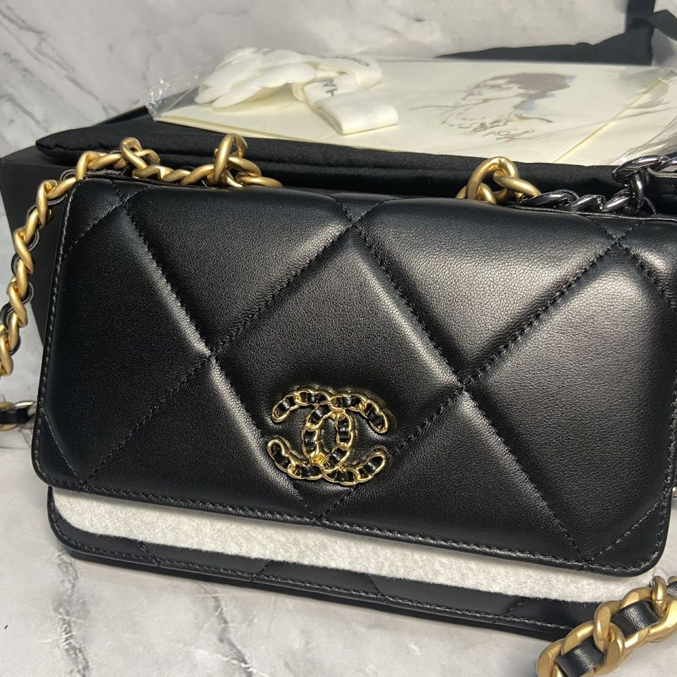 READY STOCK chanel WALLET ON CHAIN lamb skin gold chain 2 1_2