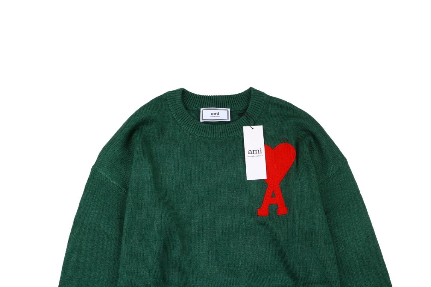 "Shirt Ami heart round neck wool sweater ""Green"" 2 2"
