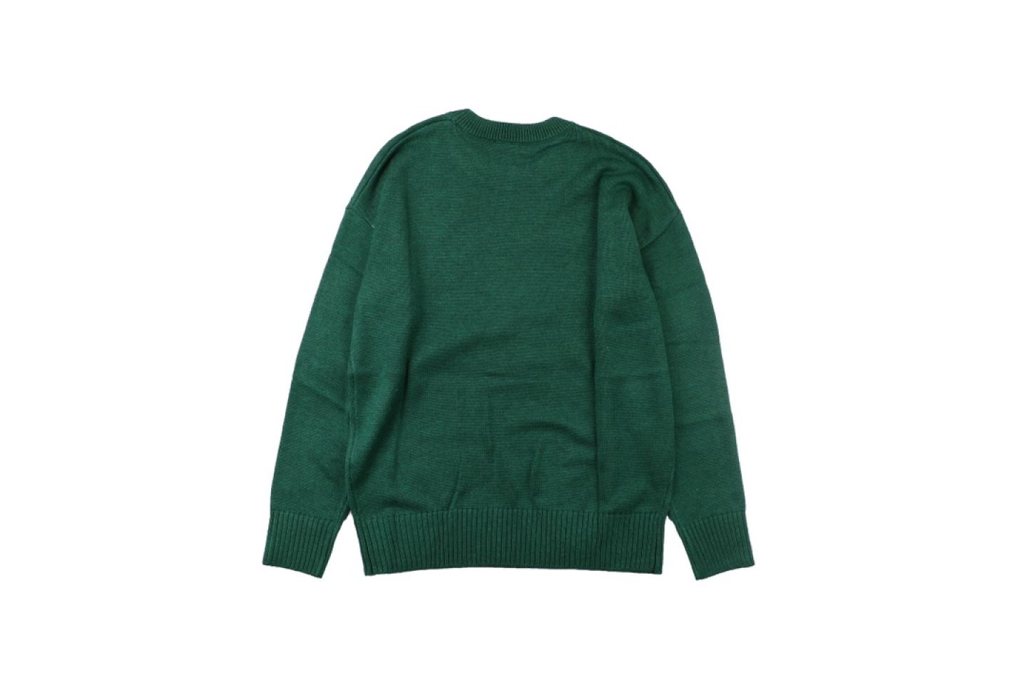 "Shirt Ami heart round neck wool sweater ""Green"" 5 5"