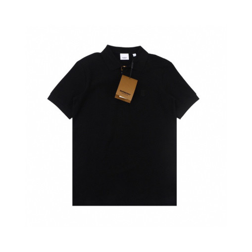 Burberry 20ss Embroidered TB Letter Small Logo Polo Shirt Short Sleeve Black