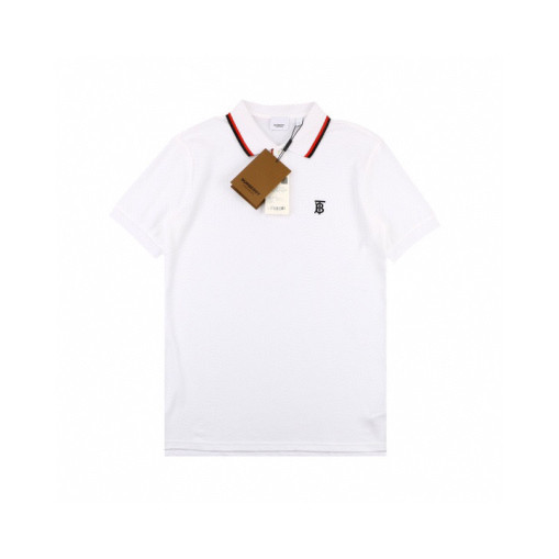 Burberry 20ss Embroidered TB Letter Small Logo Polo Shirt Short Sleeve White