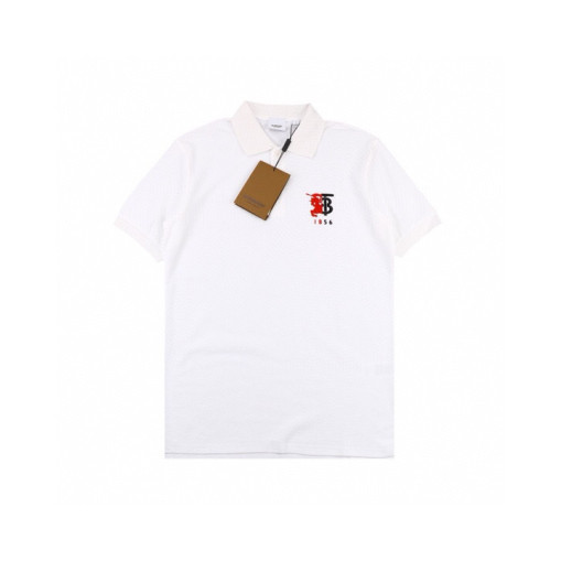 Burberry 20ss Embroidered War Horse Logo Polo Shirt Short Sleeve White