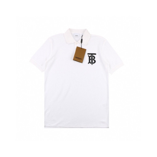 Burberry 20ss Laminated TB Letter Polo Shirt Short Sleeve White