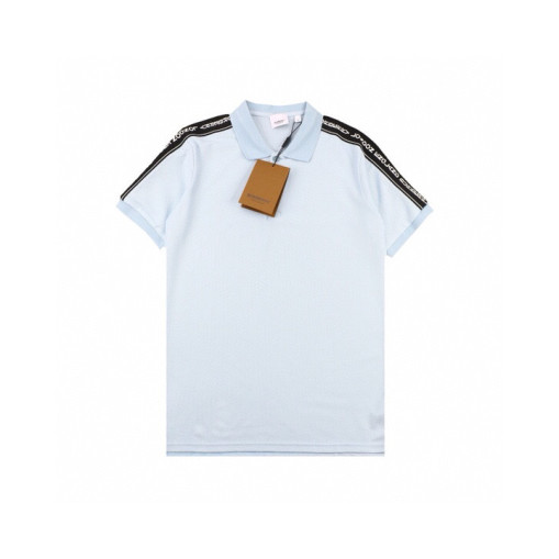 Burberry 20ss letter string label webbing Polo short sleeve Blue