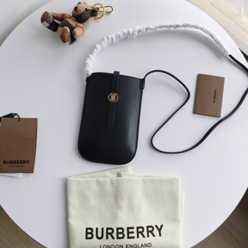 Burberry Grainy Leather Phone Case with Strap Black