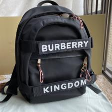 Burberry Large Logo and Kingdom Detail Nevis Backpack Black and White