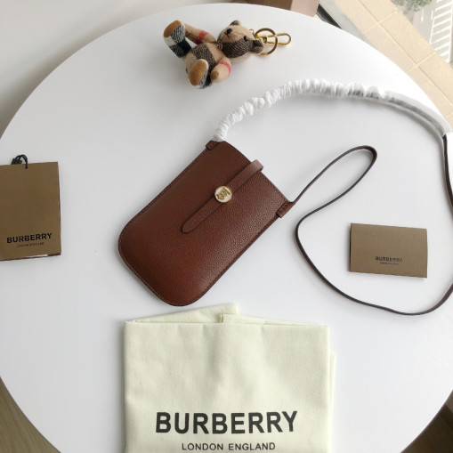 Burberry Leather Phone Case with Strap Tan