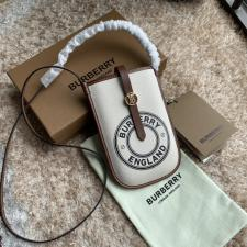 Burberry Logo Graphic Cotton Canvas Phone Case with Strap White Tan