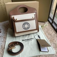Burberry Mini Logo Graphic Canvas and Leather Pocket Bag Tan