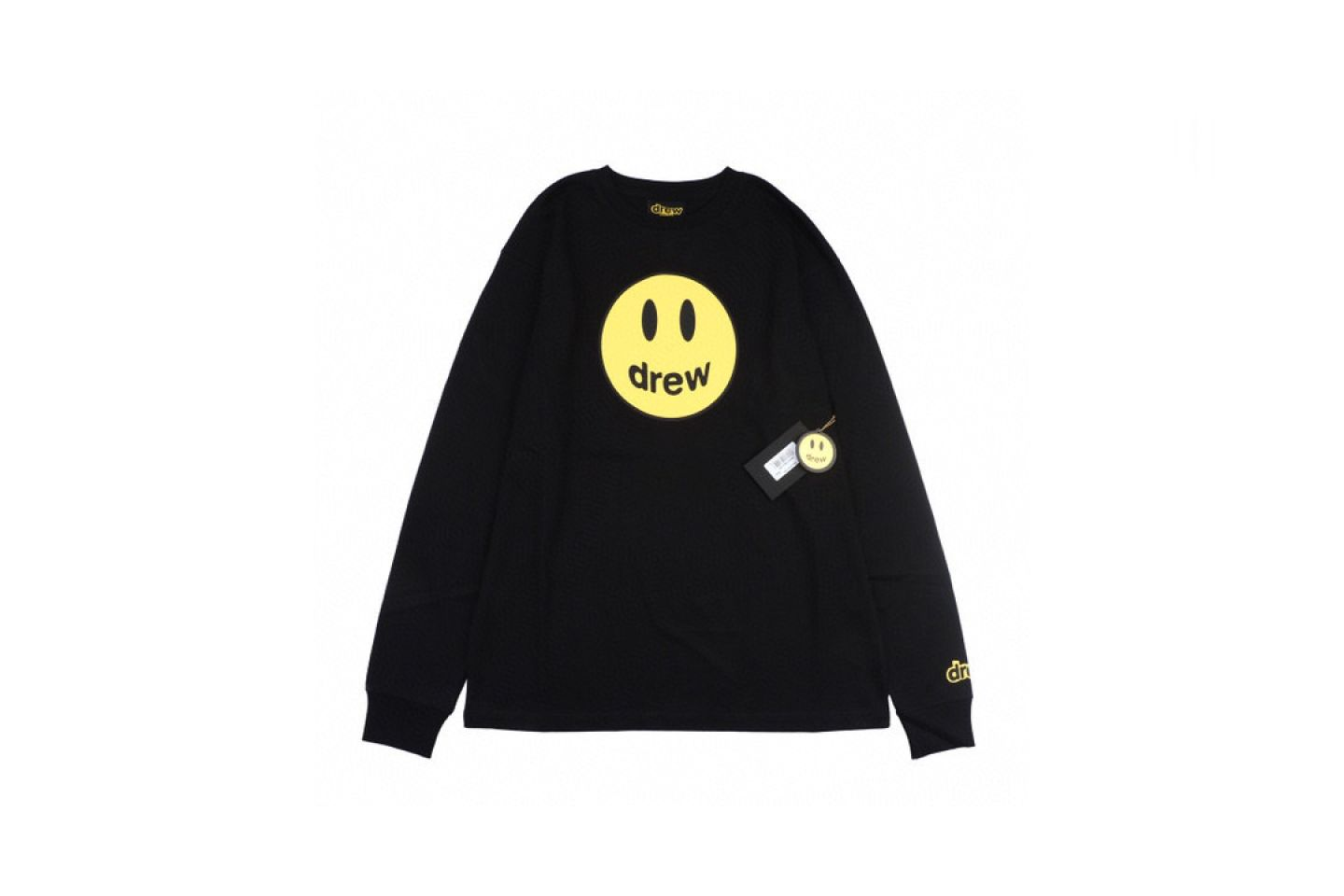 """Shirt Drew House 2020 classic smiley face long sleeve T-shirt """"Black"""" 1 drew_house_2020_classic_smiley_face_long_sleeve_t_shirt_black_1"""