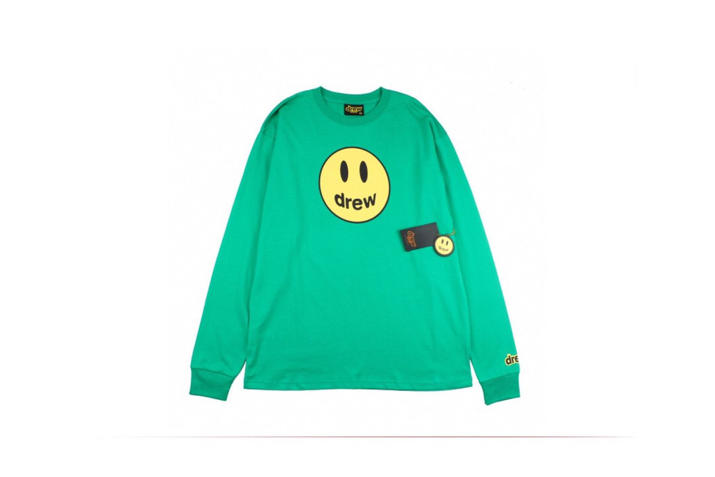 "Shirt Drew House 2020 classic smiley face long sleeve T-shirt ""Green"" 1 drew_house_2020_classic_smiley_face_long_sleeve_t_shirt_green_1"