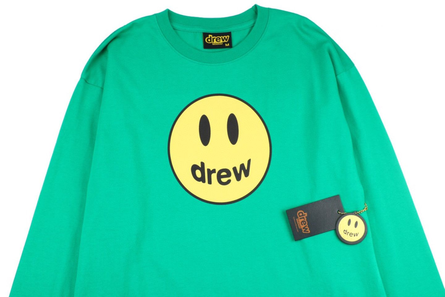 "Shirt Drew House 2020 classic smiley face long sleeve T-shirt ""Green"" 2 drew_house_2020_classic_smiley_face_long_sleeve_t_shirt_green_2"