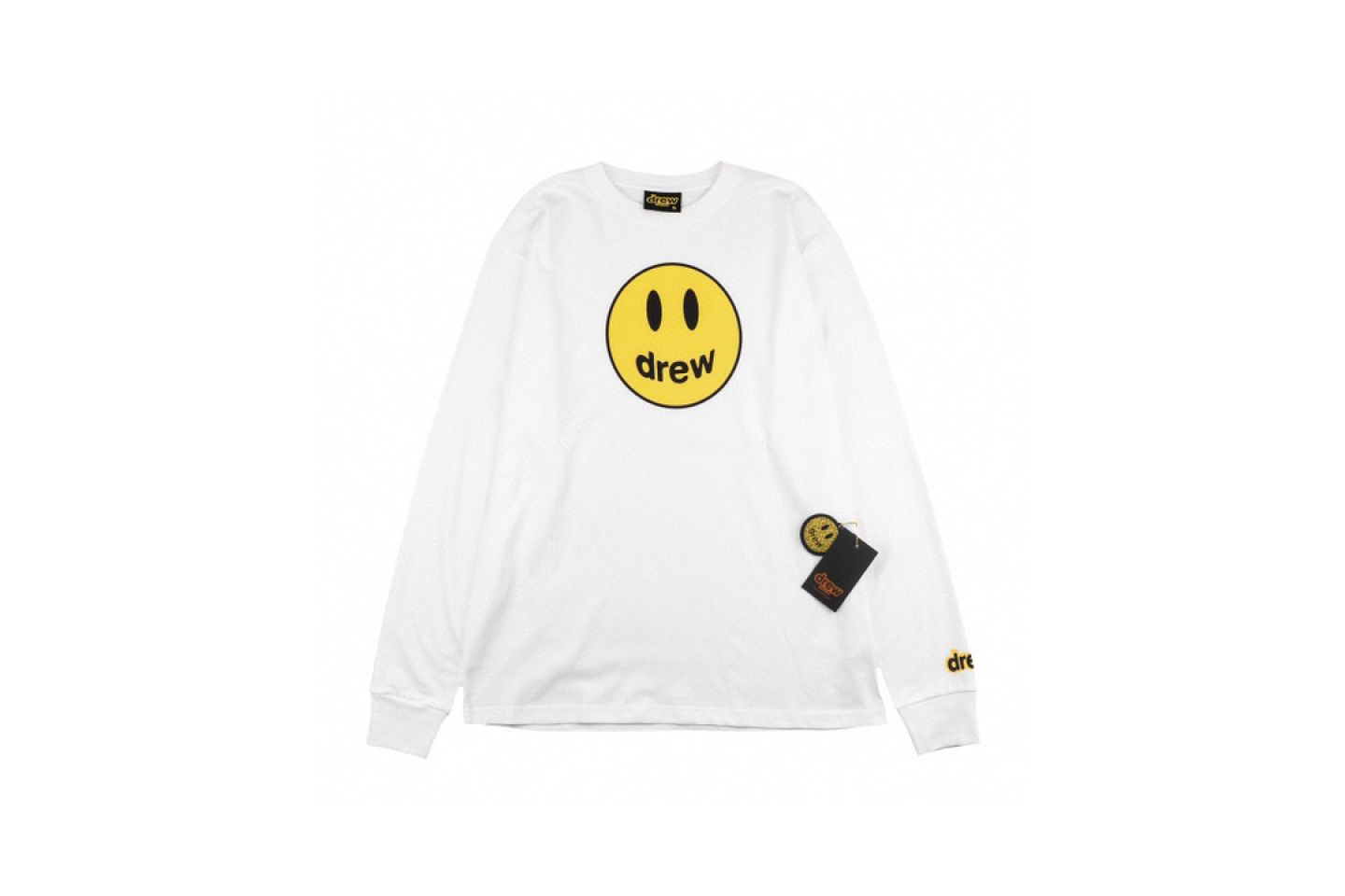"Shirt Drew House 2020 classic smiley face long sleeve T-shirt ""White"" 1 drew_house_2020_classic_smiley_face_long_sleeve_t_shirt_white_1"