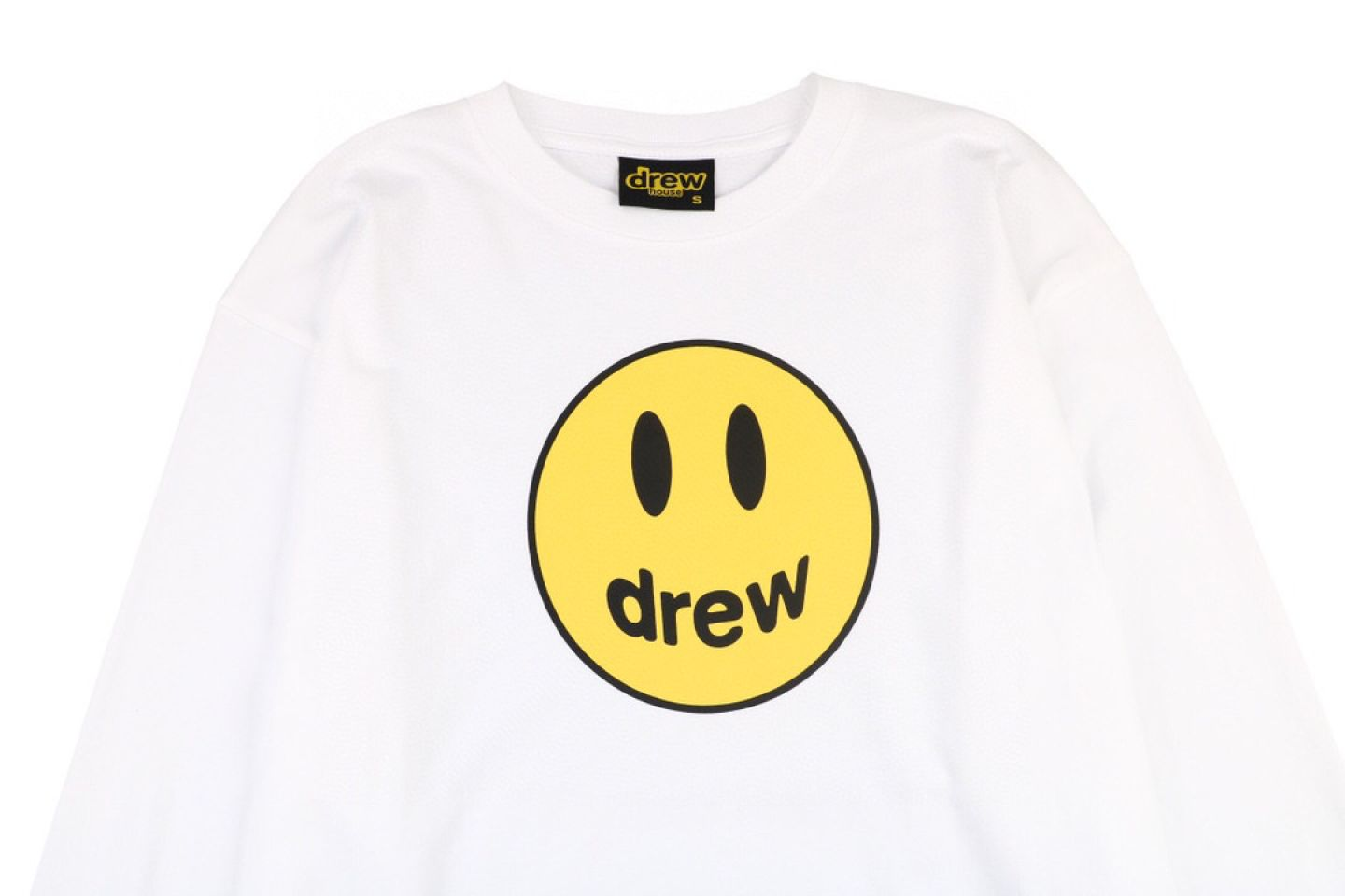 "Shirt Drew House 2020 classic smiley face long sleeve T-shirt ""White"" 2 drew_house_2020_classic_smiley_face_long_sleeve_t_shirt_white_2"