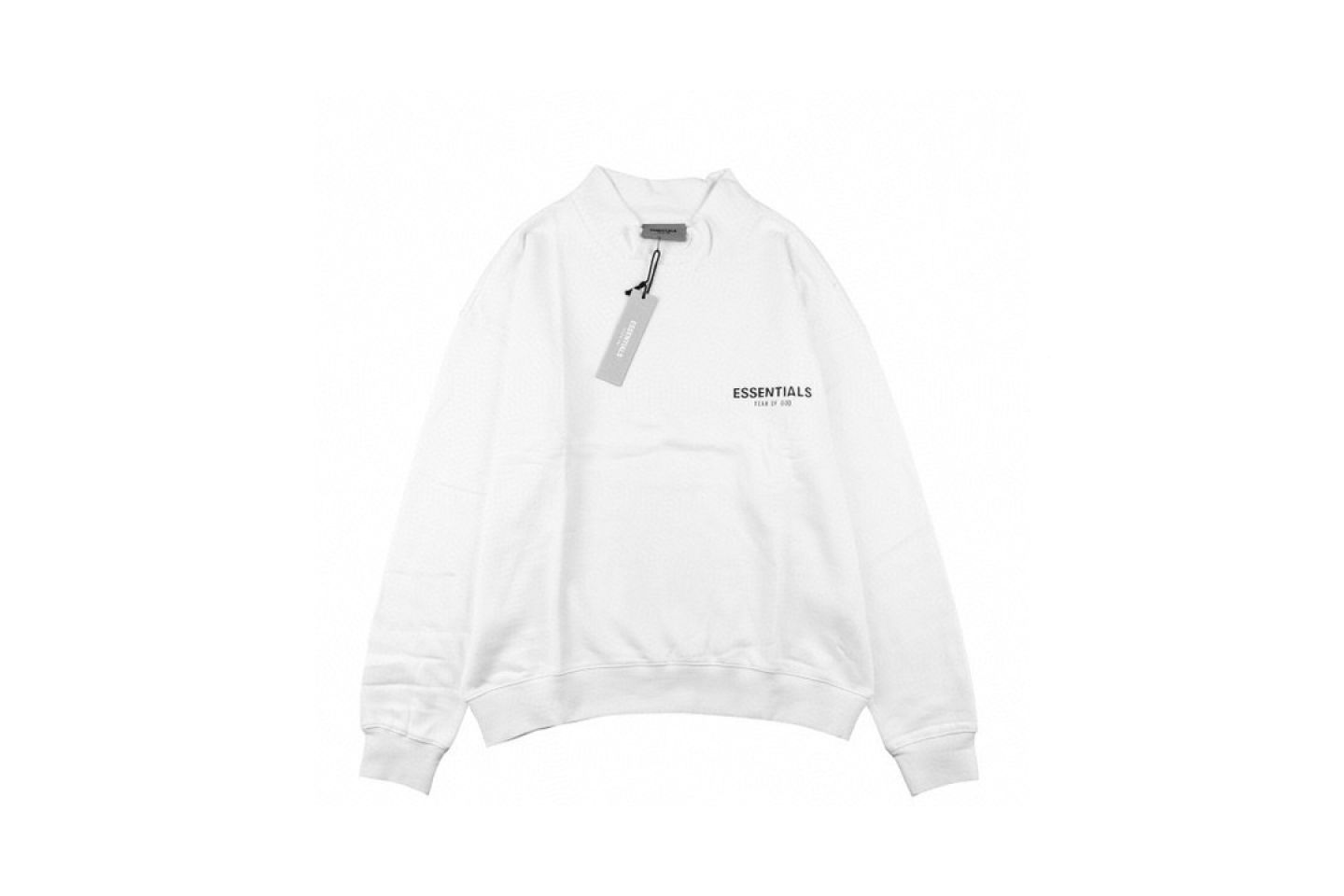 """Shirt Fear Of God double line letter reflective half high collar sweater """"White"""" 1 fear_of_god_double_line_letter_reflective_half_high_collar_sweater_white_1"""