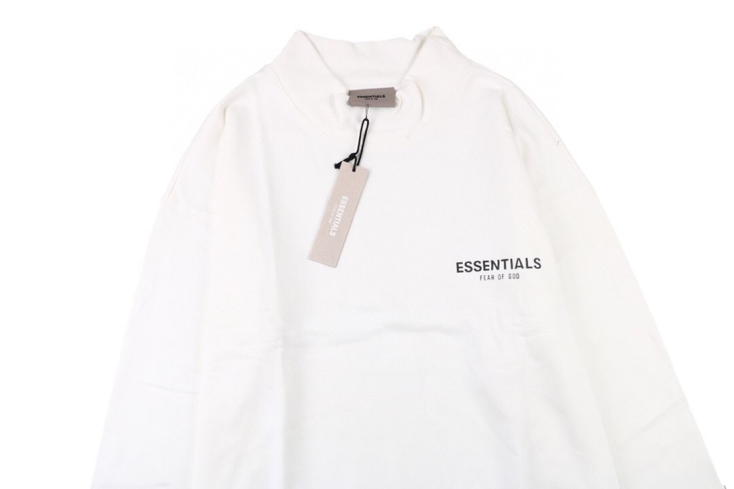 """Shirt Fear Of God double line letter reflective half high collar sweater """"White"""" 2 fear_of_god_double_line_letter_reflective_half_high_collar_sweater_white_2"""