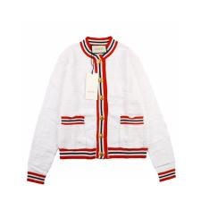 Gucci 20fw jacquard knitted wool and silk striped short cardigan