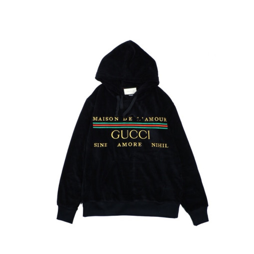 Gucci red and green striped letter gold velvet hoodie