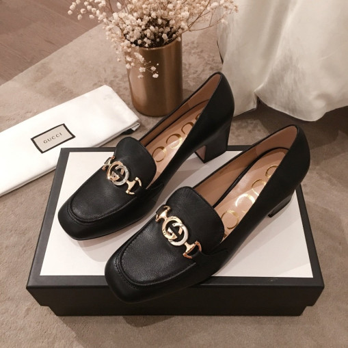 Gucci Zumi leather midheel loafer Black