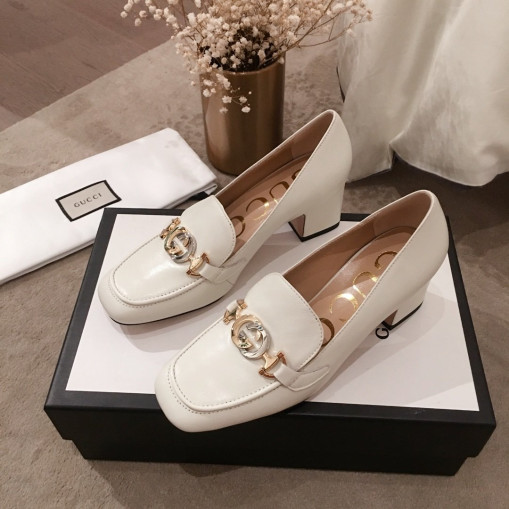 Gucci Zumi leather midheel loafer White