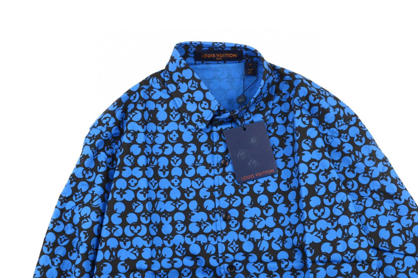 Shirt Louis Vuitton LV 19ss Ocean Blue Logo Print Long Sleeve Shirt 3 louis_vuitton_lv_19ss_ocean_blue_logo_print_long_sleeve_shirt_3
