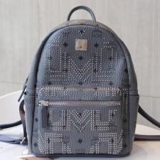 MCM Stark Backpack Gunta M Studs Visetos Phantom Grey