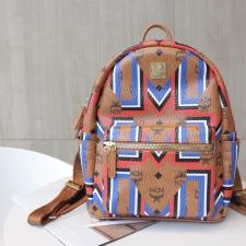 MCM Stark Backpack Visetos Gunta M Stripe Cognac