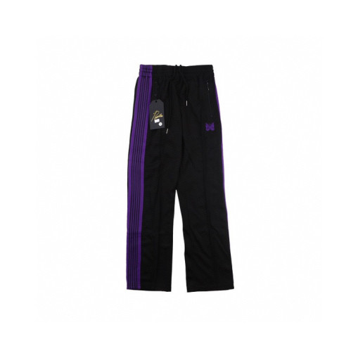 Needles track butterfly side stripes loose casual trousers Black Purple