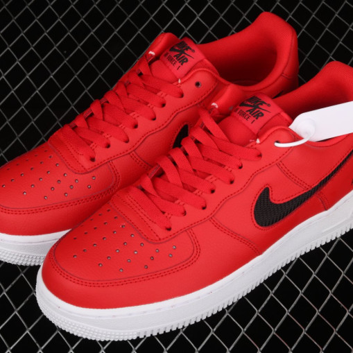 Nike Air Force 1 Low Cutout Swoosh Red Black