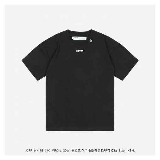 OFF WHITE C  O VIRGIL 20ss Caravaggio Square Our Lady Religious Short Sleeve Black