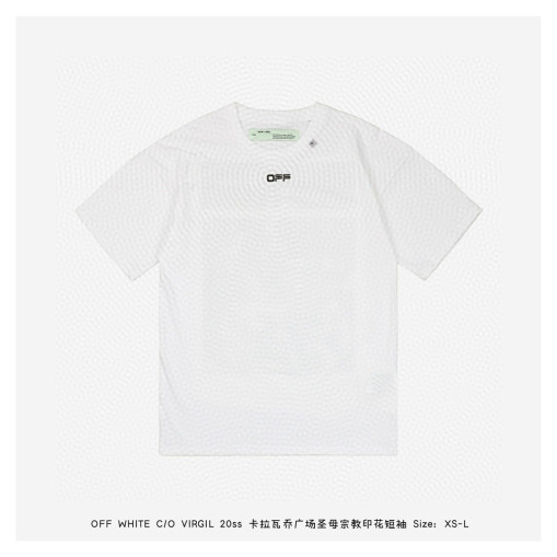 OFF WHITE C  O VIRGIL 20ss Caravaggio Square Our Lady Religious Short Sleeve White