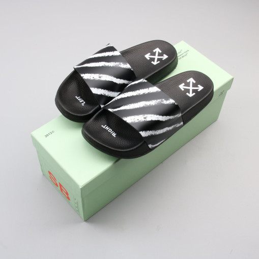 OffWhite Spray Stripes Slider Black
