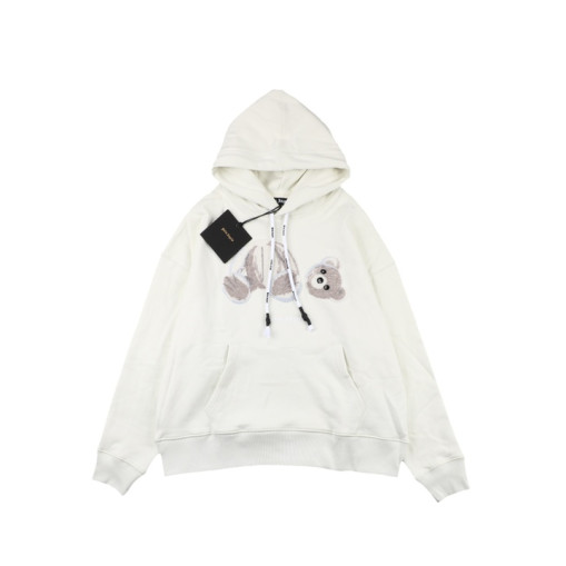 Palm Angels 20ss Embroidered Broken Bear Hooded Sweatshirt White