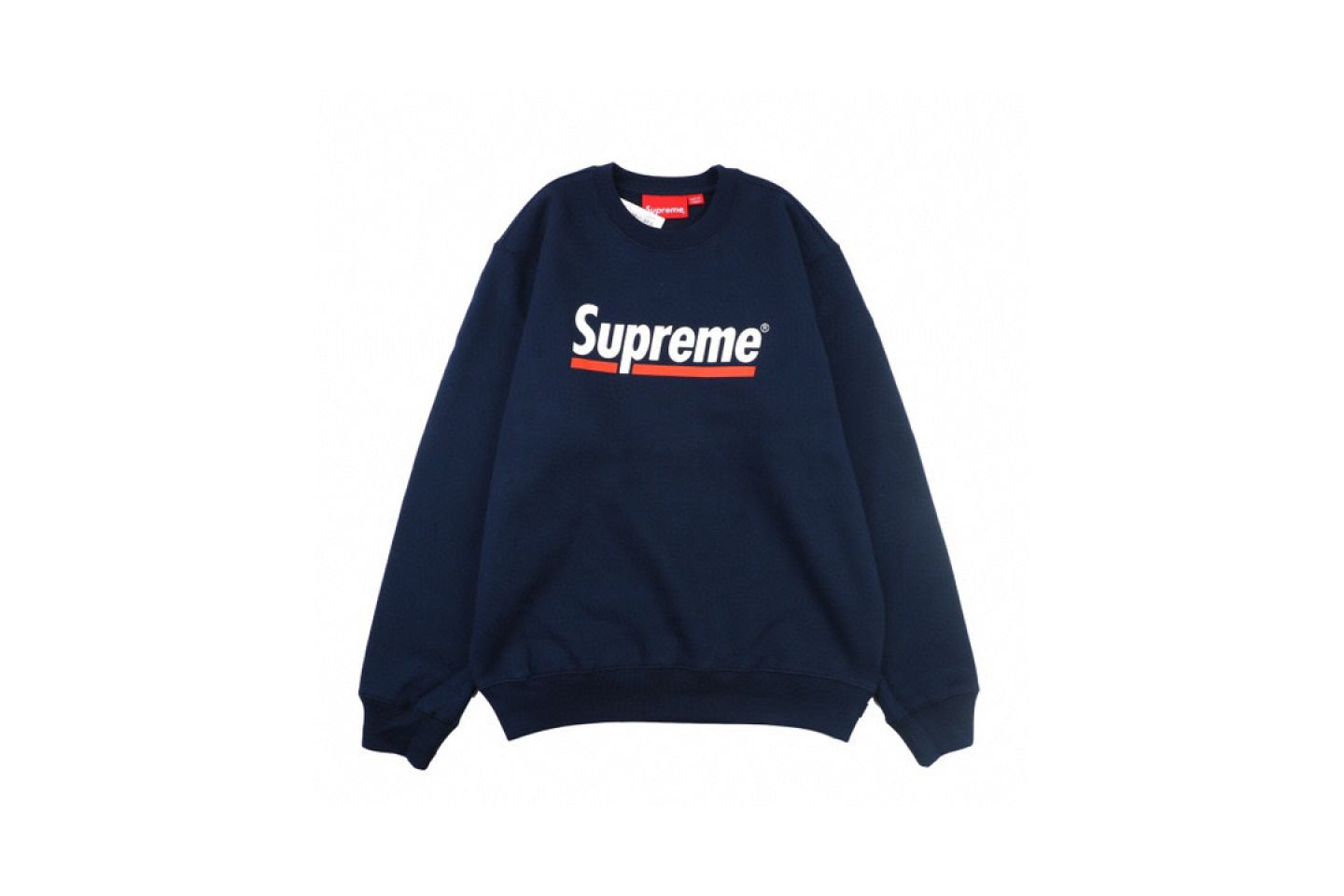 "Shirt Supreme crew neck sweatshirt with underlined logo ""Navy Blue"" 1 supreme_crew_neck_sweatshirt_with_underlined_logo_navy_blue_1"