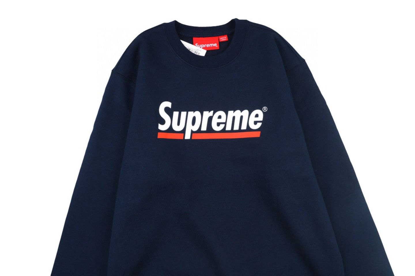 "Shirt Supreme crew neck sweatshirt with underlined logo ""Navy Blue"" 2 supreme_crew_neck_sweatshirt_with_underlined_logo_navy_blue_2"