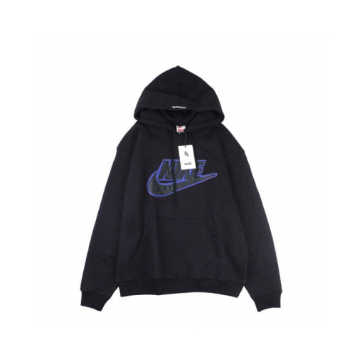 Supreme X Nike joint leather leather label hoodie Black
