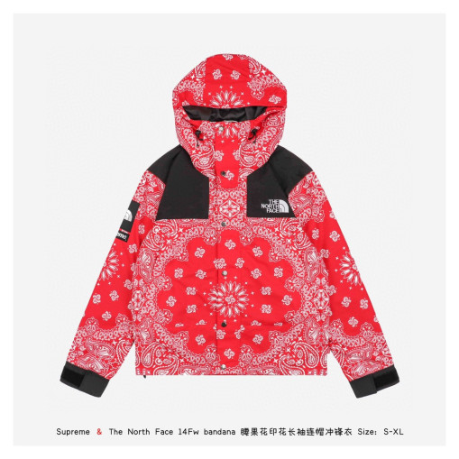 Supreme x The North Face bandana long sleeve hooded jacket Red