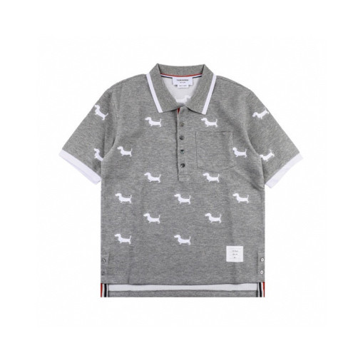 Thom Browne 20ss Puppy Embroidered Polo Short Sleeve Grey