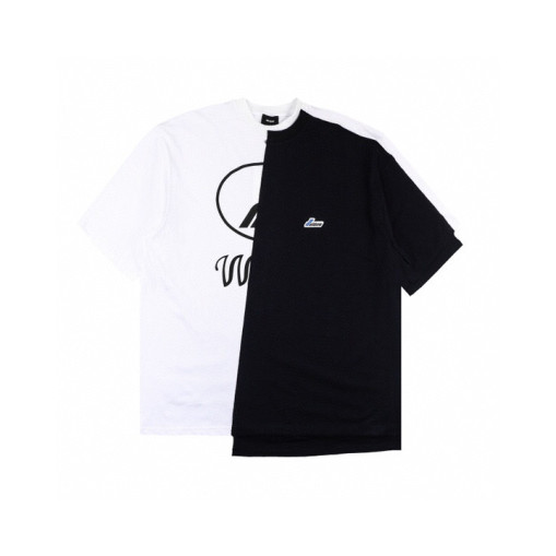 WE11DONE 2020ss stitching color matching shortsleeved Tshirt Black White