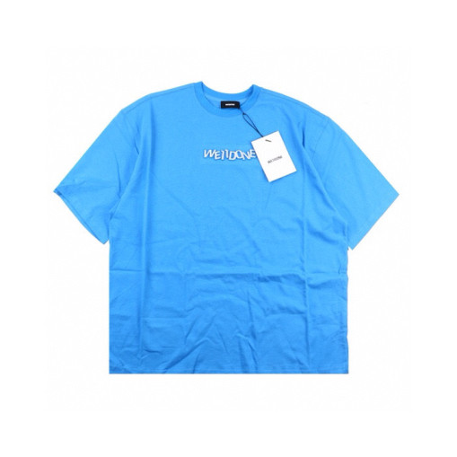 Welldone 3D printed letter short sleeve blue